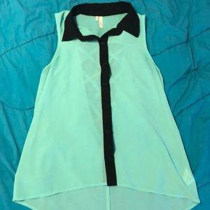 Blue formal tank blouse